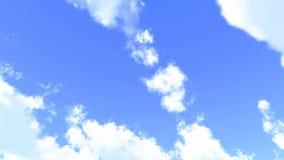 De zachte witte wolken zetten en bewegen zich over de blauwe hemel om stock video