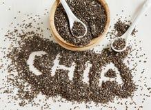 De zaden van Chia Chiawoord van chiazaden dat wordt gemaakt stock afbeelding
