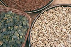 De zaden van de pompoen, flix en zonnebloem Royalty-vrije Stock Foto's