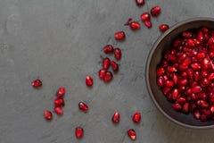 De zaden van het granaatappelfruit stock foto