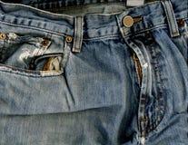 De zak & de ritssluiting van jeans Royalty-vrije Stock Foto's