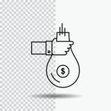 De zak, financiën, geeft, investering, geld, het Pictogram van de aanbiedingslijn op Transparante Achtergrond Zwarte pictogram ve vector illustratie