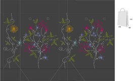 De zak van de gift met matrijzenbesnoeiing (Abstracte bloemen) Stock Foto's