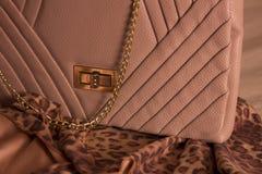 De zak van de luxevrouw op sjaals Royalty-vrije Stock Afbeeldingen