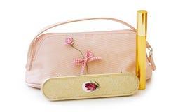 De zak van de make-up met borstel en het knippen weg Stock Afbeeldingen