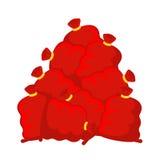 De zak van de stapelkerstman Vele rode Kerstmiszak Deposito van nieuwjaargiften Royalty-vrije Stock Foto