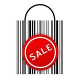 De zak van de streepjescode met verkoopsticker stock illustratie