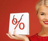 De zak van de vrouwenholding met percententeken Royalty-vrije Stock Fotografie