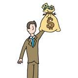 De zak van de zakenmanholding geld Stock Afbeelding