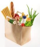 De zak van het document met voedsel Stock Foto's