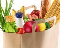 De zak van het document met voedsel stock afbeeldingen