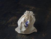 De zak van het Drawstringsgeld Stock Afbeeldingen