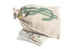 De Zak van het geld met het symbool van de Dollar Royalty-vrije Stock Fotografie