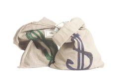 De Zak van het geld met het symbool van de Dollar Royalty-vrije Stock Afbeeldingen
