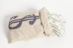 De Zak van het geld met het symbool van de Dollar Royalty-vrije Stock Foto