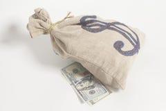 De Zak van het geld met het symbool van de Dollar Royalty-vrije Stock Afbeelding
