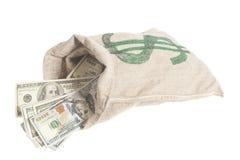 De Zak van het geld met het symbool van de Dollar Stock Afbeelding