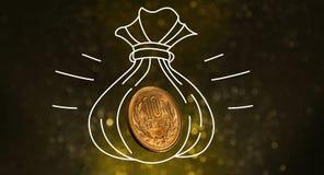De Zak van het geldmuntstuk, Geldval en Besparingsconcept, Fotografie en H royalty-vrije stock fotografie