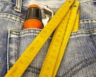 De zak van hulpmiddelen en van jeans Stock Foto