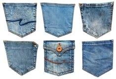 De zak van jeans die op wit wordt geïsoleerda Reeks van verschillende jeanszak Stock Foto's