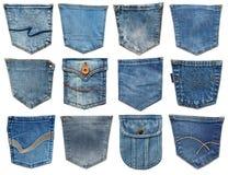 De zak van jeans die op wit wordt geïsoleerda Reeks van verschillende jeanszak Royalty-vrije Stock Foto