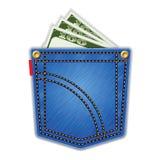 De zak van jeans met geld. Royalty-vrije Stock Foto