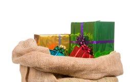 De zak van Sinterklaas met stelt voor Stock Foto's