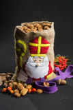 'De zak van Sinterklaas' (St. Nicholas' bag) filled with 'pepern Stock Image