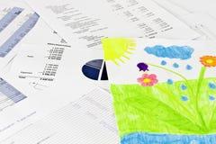 De zaken analise en de kindtekening Royalty-vrije Stock Foto's