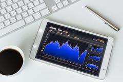 De zaken analyseren op digitale tablet stock afbeeldingen