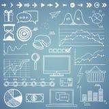 De zaken, finanse hand trekken de grafiek van krabbelelementen Stock Foto's