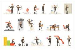 De zaken ontbreken en Manager Suffering Loss And die in Schuldreeks zijn de Mislukkings Vectorillustraties van Buncrupcy en van h stock illustratie