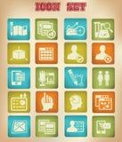 De zaken, Op de markt brengend & adverteren pictogrammen, Uitstekende versie Royalty-vrije Stock Afbeeldingen