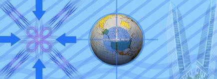 De zaken van de kopbal, richtingen en succes wereldwijd Stock Foto