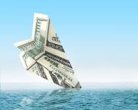 De zaken van het faillissement Het wrak van het geldvliegtuig royalty-vrije stock afbeeldingen