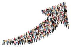 De zaken van het groeps mensen succes verbeteren de succesvolle groei marke stock afbeelding