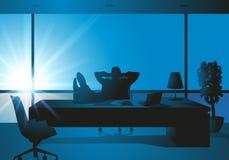 De zaken, Werkgever, ontspannen, voeten op het bureau royalty-vrije illustratie