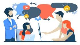 De zakenlieden bespreken sociaal netwerk, nieuws, sociale netwerken, praatje, de bellen van de dialoogtoespraak, nieuwe projecten royalty-vrije illustratie