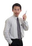 De zakenlieden contacteren radio Stock Afbeelding