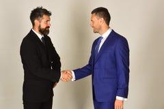 De zakenlieden dragen slimme kostuums en banden Bedrijfsovereenkomst en compromis Royalty-vrije Stock Foto