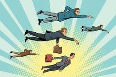 De zakenlieden drijven in de lucht stock illustratie
