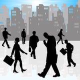 De zakenlieden en de vrouwen van de stad stock illustratie