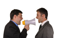 De zakenlieden komen emotioneel houdingen te weten stock afbeelding