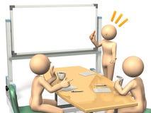 De zakenlieden zijn enthousiast aan uitwisselings van ideeënideeën. Stock Foto's