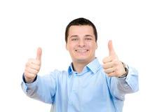 De zakenman beduimelt omhoog Stock Afbeelding