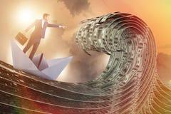 De zakenman berijdende document boot in dollaroverzees vector illustratie