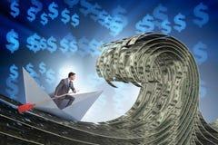 De zakenman berijdende document boot in dollaroverzees royalty-vrije illustratie