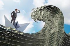 De zakenman berijdende document boot in dollaroverzees royalty-vrije stock afbeelding