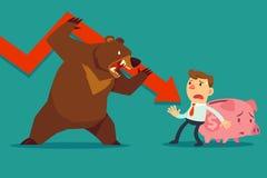De zakenman beschermt zijn spaarvarken tegen baissemarkt Stock Afbeelding