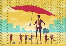 De zakenman biedt Bescherming voor zijn Team aan royalty-vrije illustratie